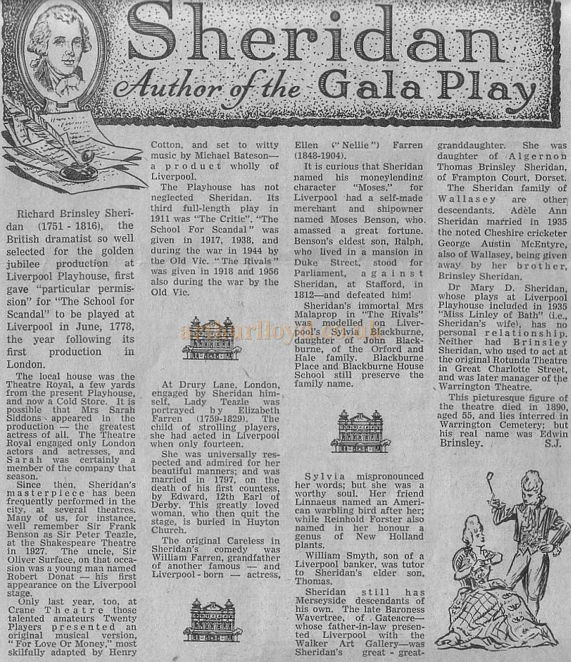 Liverpool 39 S Daily Post Pullout Souvenir For The Jubilee Of The Playhouse Theatre On Saturday