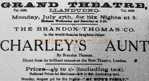 An undated advertisement for 'Charley's Aunt' at the Grand Theatre, Llandudno - With Kind Permission Llandudno Library.