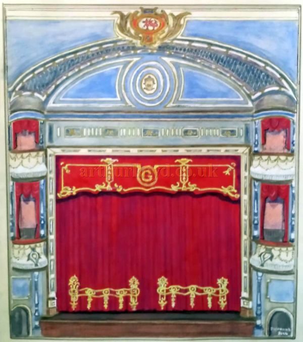 A Painting depicting the Proscenium, Stage, and Boxes of the Grand Theatre, Llandudno by, and courtesy of, George Richmond 2014.