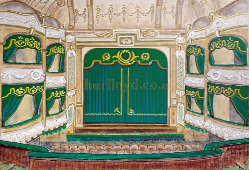 A Painting depicting the auditorium and stage of the Palladium Theatre, Llandudno - Courtesy George Richmond.