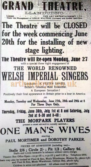 An undated Playbill announcing the closure of the Grand Theatre, Llandudno for in the installation of new stage lighting - With Kind Permission the Llandudno Library.