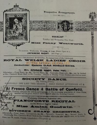A programme for Riviere's Concert Hall featuring Clara Novello Davies - Courtesy Llandudno Library.