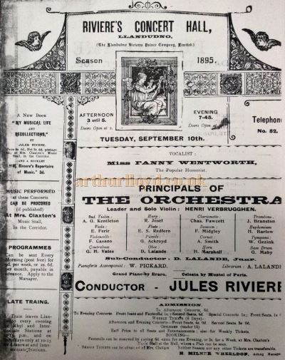 A programme for Riviere's Concert Hall in September 1895 - Courtesy Llandudno Library.