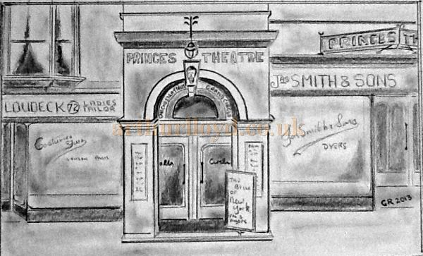 A drawing of the exterior of the Princes Theatre, Llandudno - Courtesy George Richmond.