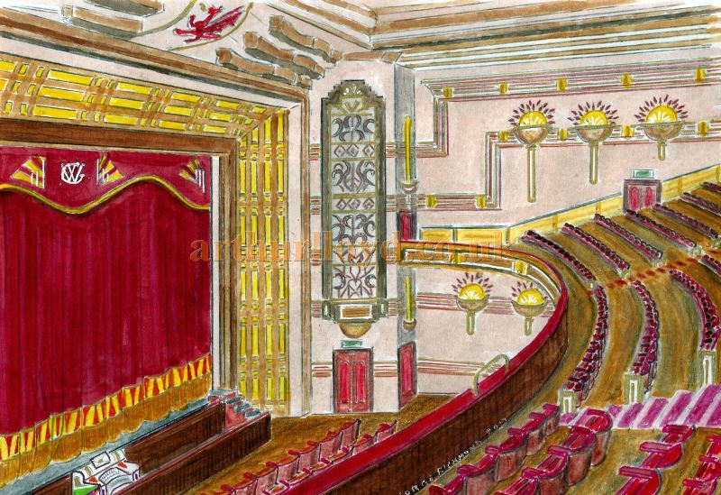 A Painting depicting the auditorium of the Winter Garden Theatre, Llandudno - Courtesy George Richmond.
