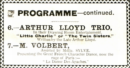 The Arthur Lloyd Trio in their Drawing Room Entertainment 'Little Charlie' or 'The Twin Sisters' , written by the late Arthur Lloyd, from a variety programme for the London Coliseum in 1908.