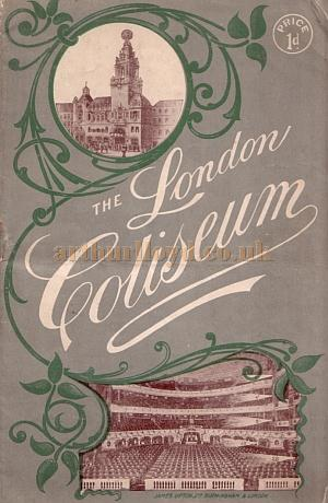 A variety programme for the London Coliseum in 1908.