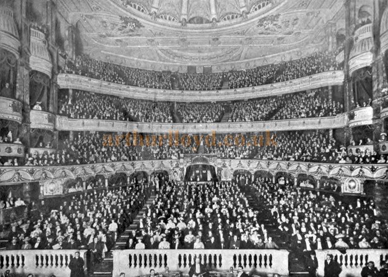The London Coliseum Auditorium with a packed audience, in the early 1900s - From 'Living London' Volume II Section II by George R. Sims.
