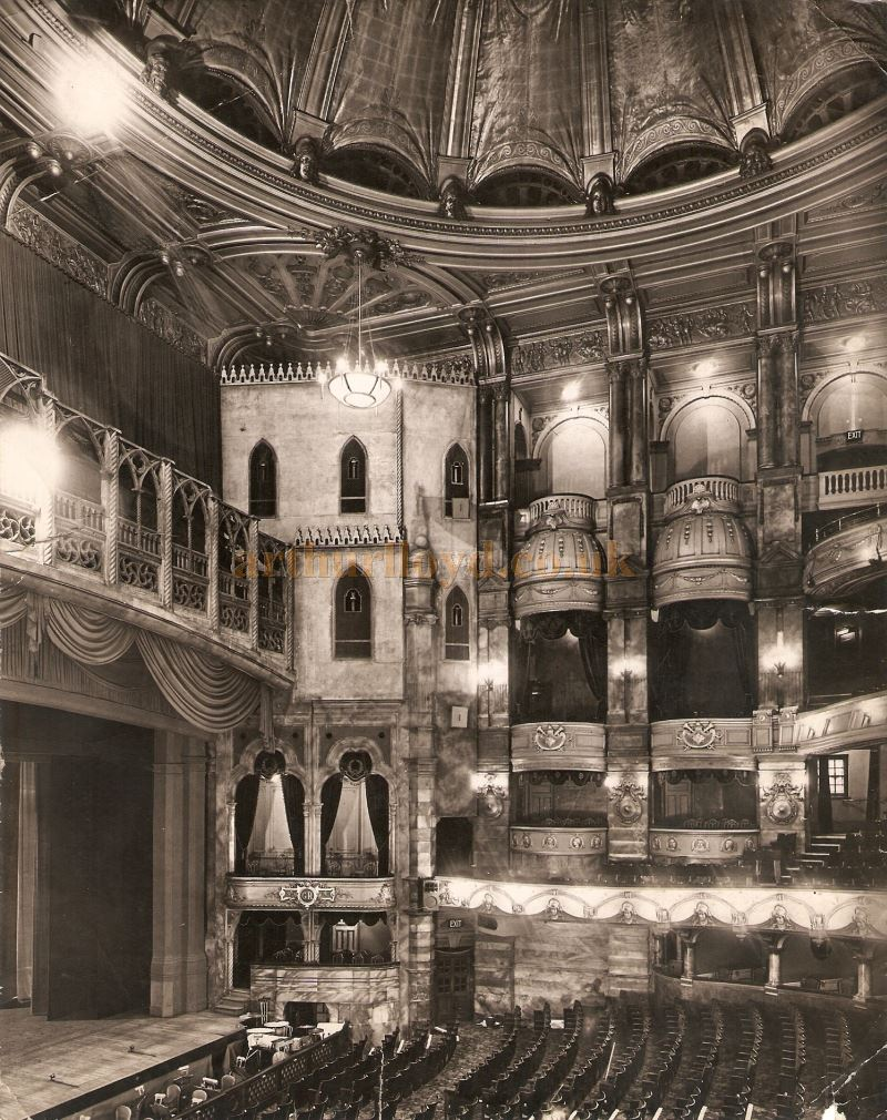 The London Coliseum decked out with a bridge and false proscenium, originally constructed for the 1932 production of 'Casanova', in a photograph taken in 1937 - Courtesy Chris Woodward. The Bridge was such an elaborate structure that it proved too difficult to remove and remained in place until it was finally taken down in 1951.