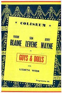 Programme for 'Guys and Dolls' at the London Coliseum in 1953