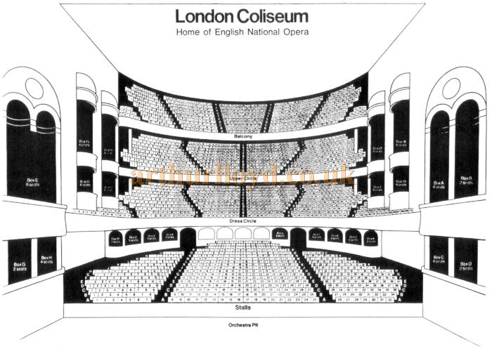 A Seating Plan for the London Coliseum with the English National Opera Company name so probably mid to late 1970s