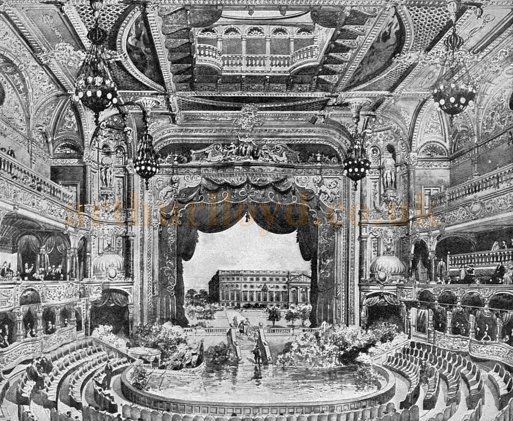 The Auditorium and Stage of the London Hippodrome when it first opened in 1900, here set up for a water spectacular - From The Sketch, January 3rd 1900.