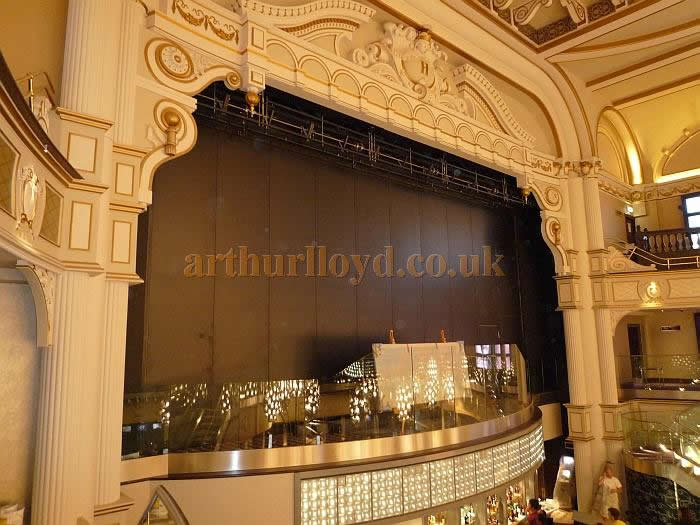 The proscenium and new stage at the Hippodrome Casino with the fire curtain down in July 2012 - Courtesy Terry Powell