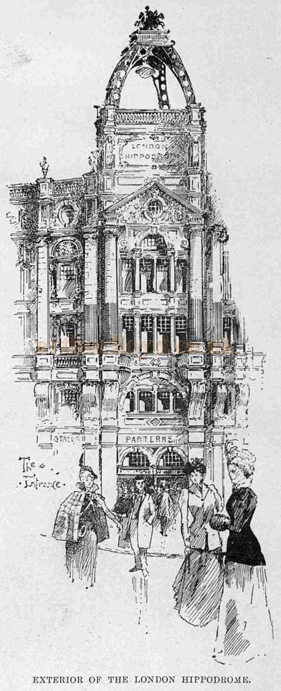 The London Hippodrome Exterior when it first opened in 1900 - From The Sketch, January 3rd 1900.