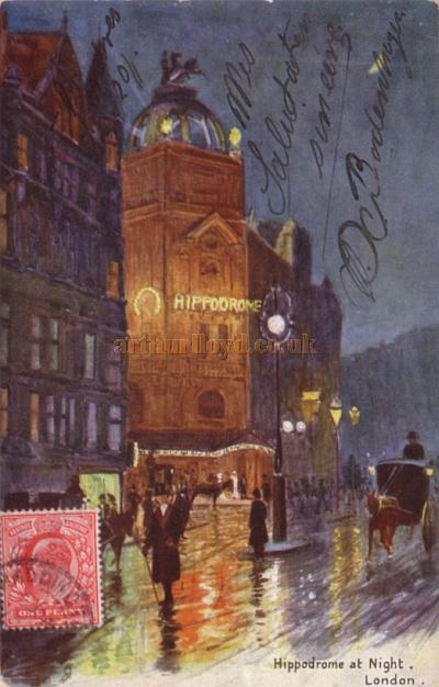 A postcard sent in 1906 showing the London Hippodrome at night.
