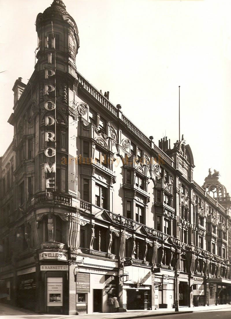 The Cranbourne Street elevation of the London Hippodrome in a photograph taken during the Second World War - Courtesy Chris Woodward.