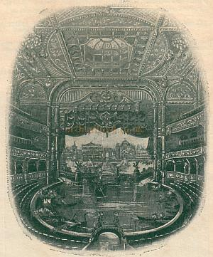 The auditorium of the London Hippodrome set up for a water spectacular - From a programme for May 2nd 1910 - Click to see a special feature on this programme.