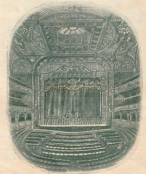 The auditorium of the London Hippodrome in its guise as a conventional Theatre - From a programme for May 2nd 1910 - Click to see a special feature on this programme.
