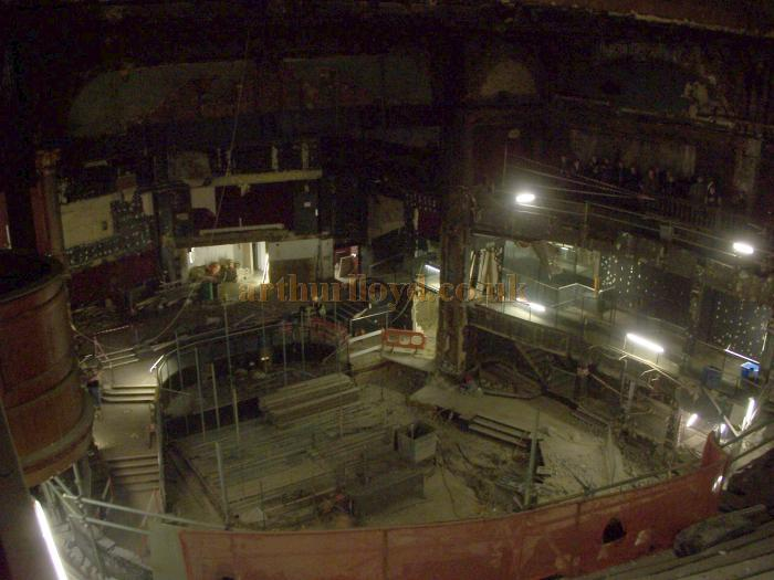 The auditorium and stage of the London Hippodrome are finally revealed after works to remove the 1958 Talk of the Town false ceiling and subsequent alterations are completed in November 2009 - Photo M.L. November 2009
