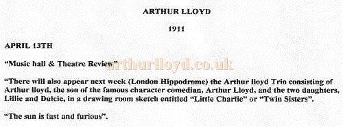 A Notice from the 'Music hall & Theatre Review' 1911 for the Arthur Lloyd Trio performing at the London Hippodrome.