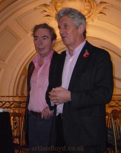 Andrew Lloyd Webber and Andre Ptaszynski, Owner and Chief Executive of Really Useful Theatres make short speeches about the Palladium's history before toasting the Theatre's 100th anniversary - Photo courtesy Roger Fox