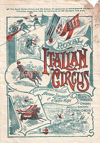 Programme for The Royal Italian Circus / Formerly Hengler's Grand Cirque - Circa 1905 - Click to see Entire Programme.