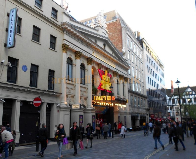 The London Palladium during the run of 'I Can't Sing' which opened at the Theatre on the 26th of March 2014 but was unsuccessful and closed on the 10th of May.  Photo M.L.
