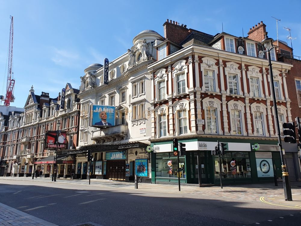 The Apollo and Lyric Theatres on a deserted Shaftesbury Avenue - on March the 23rd 2020 during the Coronavirus Pandemic - Photo M.L.
