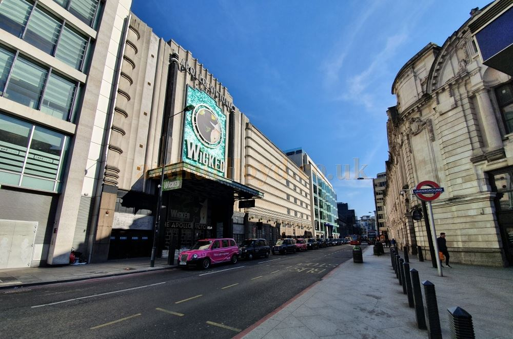 The Apollo Victoria Theatre, and another one of London's busiest streets, here almost deserted - on March the 23rd 2020 during the Coronavirus Pandemic - Photo M.L.