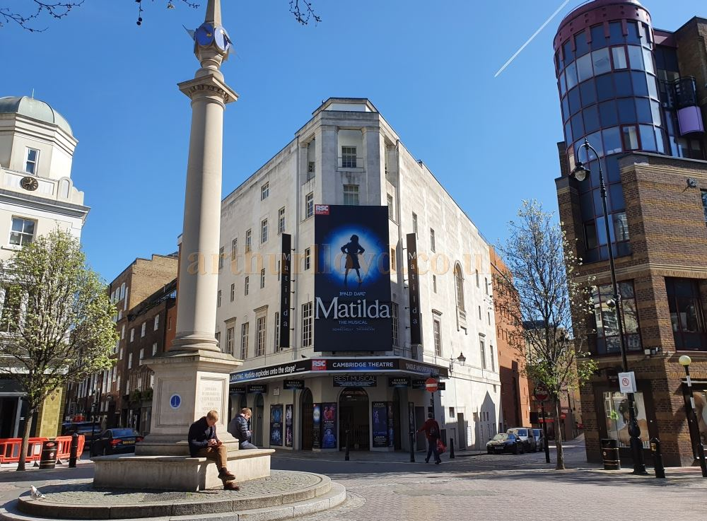 The Cambridge Theatre Seven Dials, here unusually devoid of people and traffic - on March the 23rd 2020 during the Coronavirus Pandemic - Photo M.L.