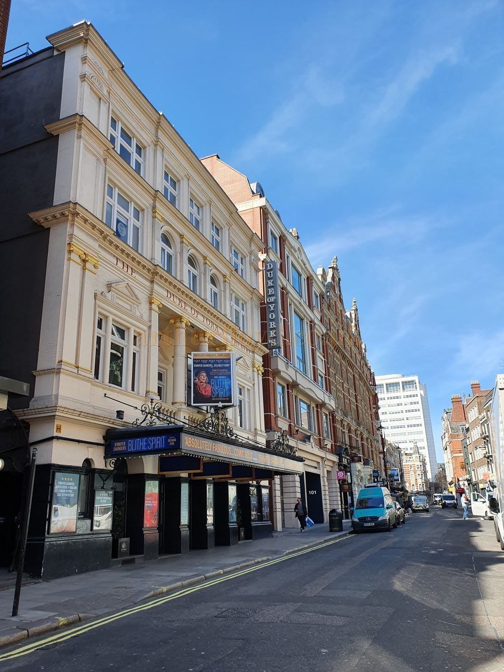 The Duke of York's Theatre on an almost deserted St. Martin's Lane which is normally full of traffic and people - on March the 23rd 2020 during the Coronavirus Pandemic - Photo M.L.