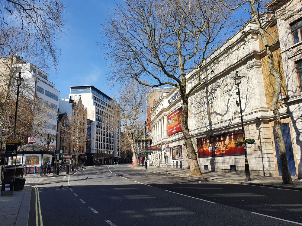 The Garrick Theatre on an almost deserted Charring Cross Road, which is normally heaving with traffic - on March the 23rd 2020 during the Coronavirus Pandemic - Photo M.L.