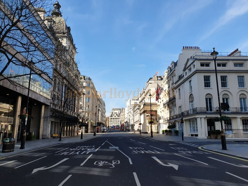 London's Haymarket, home to the Theatre Royal and Her Majesty's Theatre, a street which is normally choked with traffic and thousands of people, here standing empty - on March the 23rd 2020 during the Coronavirus Pandemic - Photo M.L.