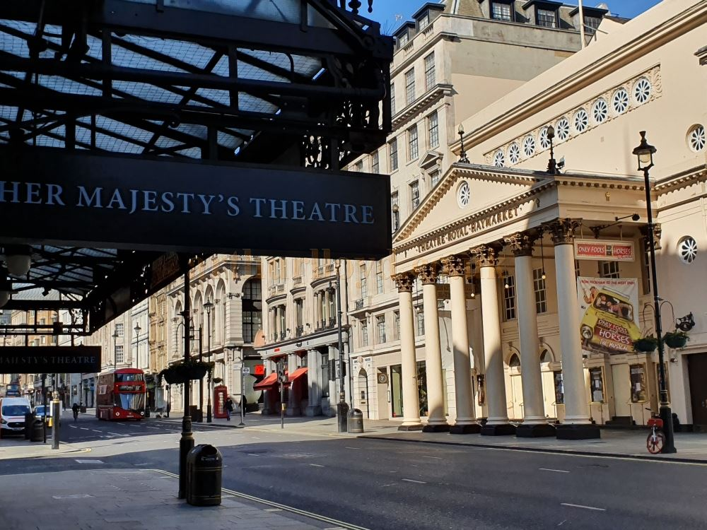 The Theatre Royal, Haymarket taken from beneath the Canopy of Her Majesty's Theatre - on March the 23rd 2020 during the Coronavirus Pandemic - Photo M.L.