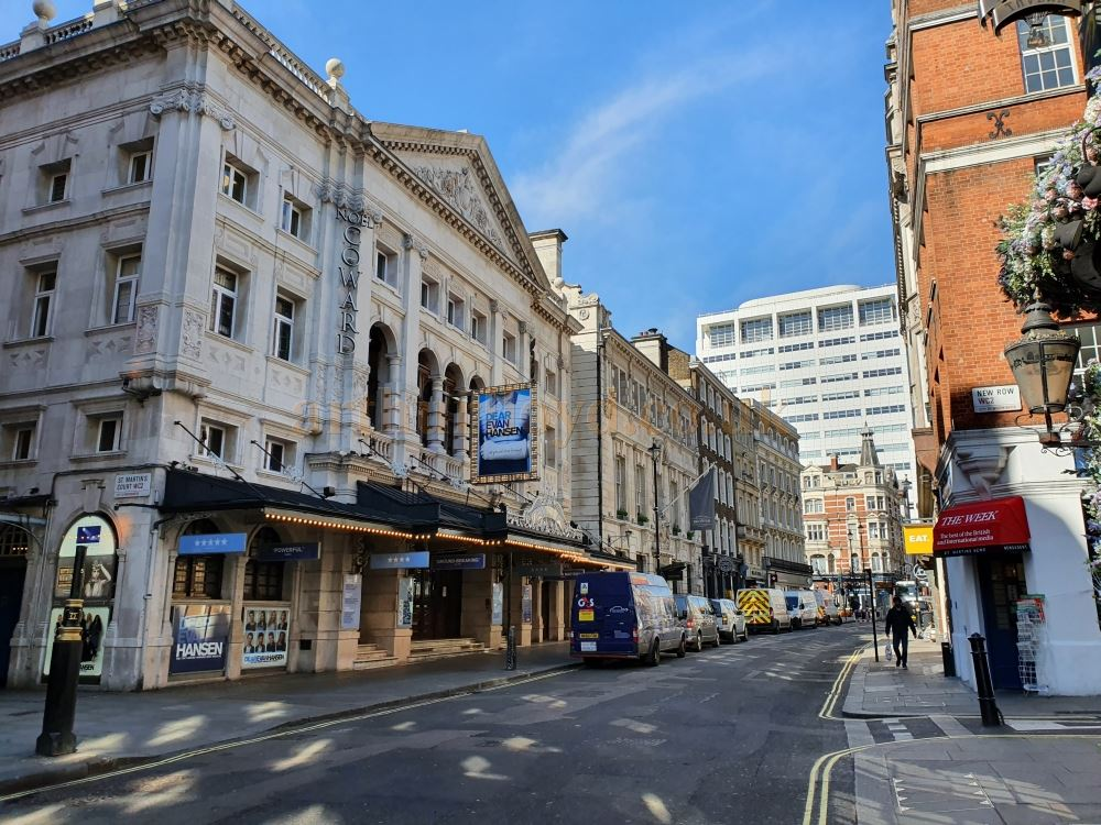 The Noel Coward Theatre on an almost deserted St. Martin's Lane which is normally full of traffic and people - on March the 23rd 2020 during the Coronavirus Pandemic - Photo M.L.