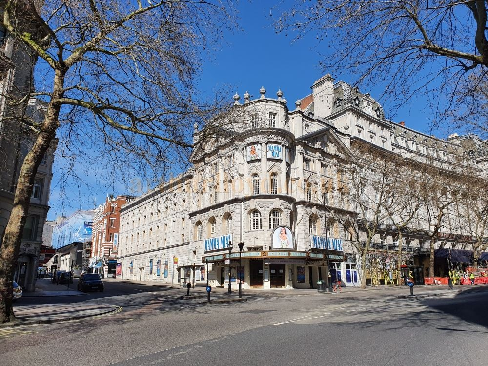 The Novello Theatre on the Aldwych without the usual chockablock traffic and hundreds of people - on March the 23rd 2020 during the Coronavirus Pandemic - Photo M.L.