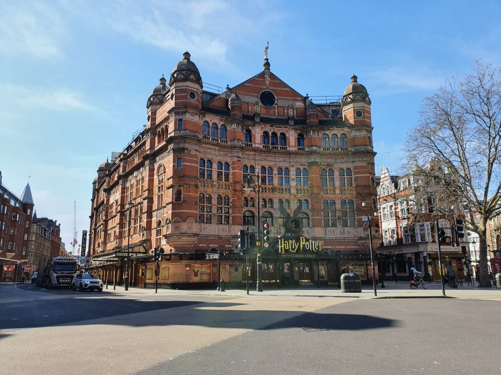 The Palace Theatre on Cambridge Circus, one of the busiest junctions in the West End, here almost deserted - on March the 23rd 2020 during the Coronavirus Pandemic - Photo M.L.