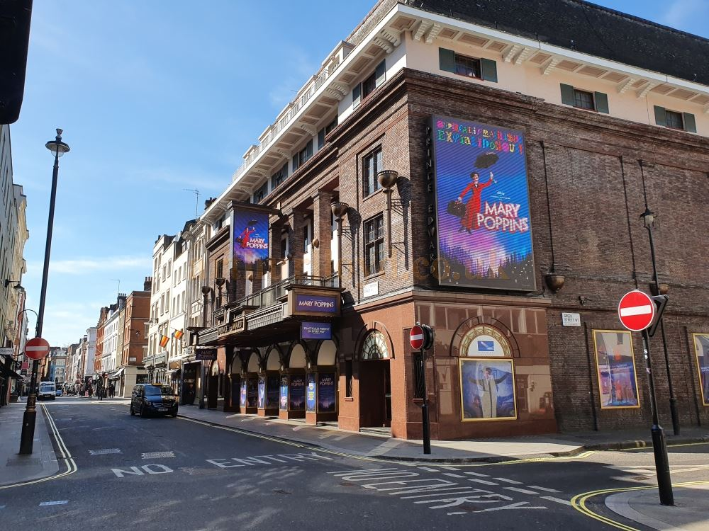 The Prince Edward Theatre on Old Compton Street in Soho, a normally bustling street and home to London's Gay Hub - on March the 23rd 2020 during the Coronavirus Pandemic - Photo M.L.