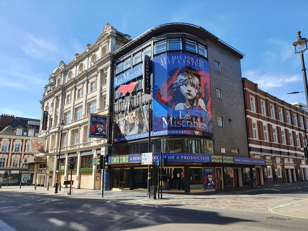 The Sondheim Theatre on Shaftesbury Avenue, home to London's Longest Running Musical 'Les Miserables' - on March the 23rd 2020 during the Coronavirus Pandemic - Photo M.L.