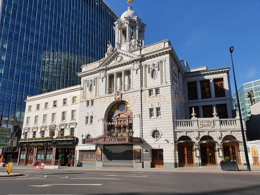 The Victoria Palace Theatre, on Victoria Street, another one of London's busiest streets, here almost deserted - on March the 23rd 2020 during the Coronavirus Pandemic - Photo M.L.