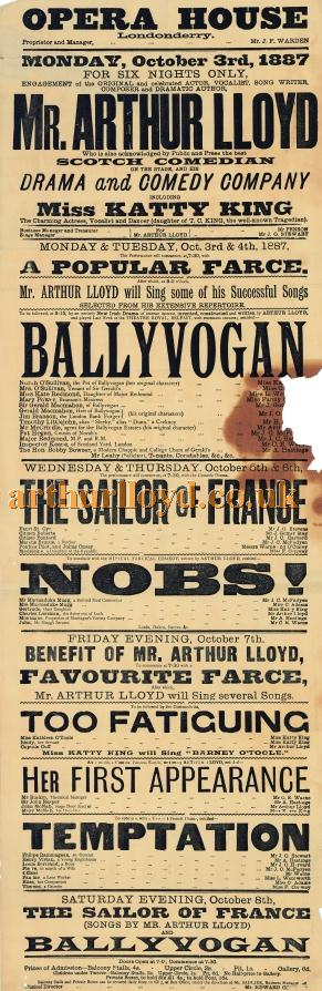 A Poster for Arthur Lloyd and his wife Katty King in the  play written by Arthur called 'Ballyvogan' at the Opera House, Londonderry October 3rd 1887 - Click to Enlarge.