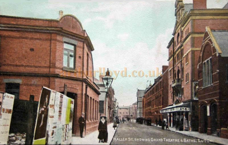 A Postcard from 1910 showing Waller Street and Grand Theatre, Luton