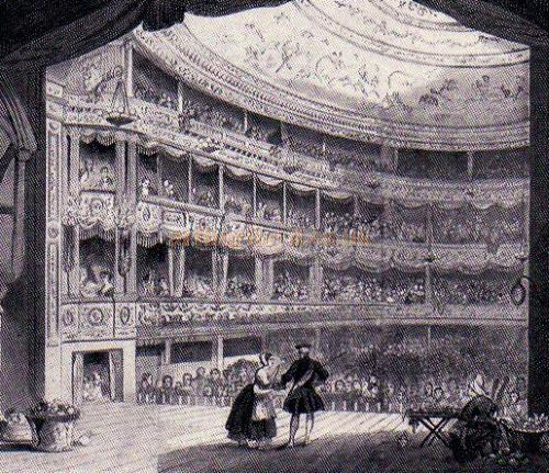 The auditorium of the renovated Lyceum Theatre with Mme Vestris and C. J. Mathews in Planche's The Pride of the Market, October 18, 1847 - From 'The Lyceum' by A. E. Wilson 1952.