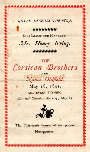A programme for Henry Irving's production of 'The Corsican Brothers' at the Lyceum Theatre in May 1891 - Courtesy Jacqueline Selcoe.
