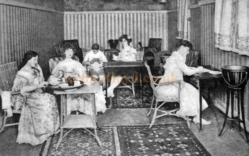 Actresses taking tea during the waits in the Greenroom of the Lyceum Theatre, London - From The Theatre Magazine, April 1905.