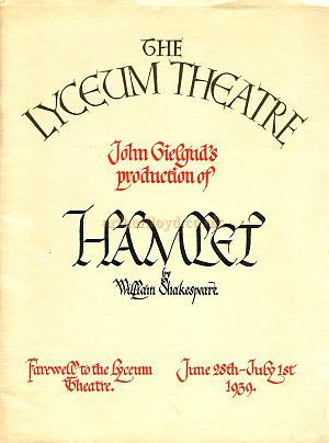 The programme for John Gielgud's production of Hamlet in 1939