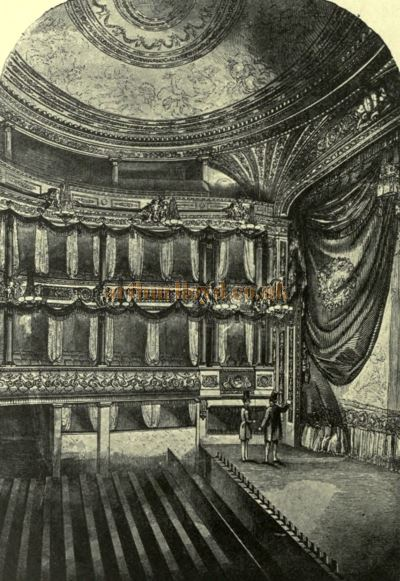 The Auditorium and Stage of the Lyceum Theatre in 1834 - From 'The Lyceum and Henry Irving' by Austin Brereton, published in 1903.