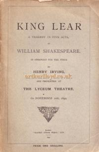 A Script for Henry Irving's production of 'King Lear' at the Lyceum Theatre in 1892 - Kindly Donated by Judith Clarke - Click for more information.