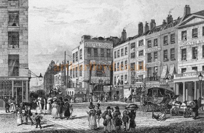 An engraving by George Cooke in 1829 showing the Lyceum Theatre's original entrance on the Strand opposite Wellington Street before the 1830 fire which destroyed it. The image also shows the Exeter Change.