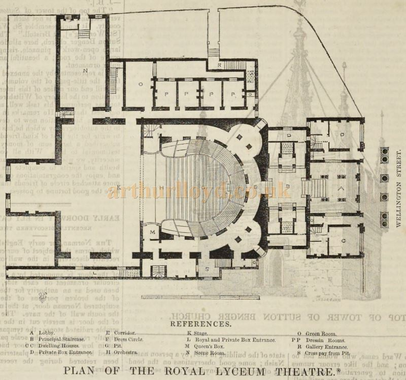 A Plan of the Second Lyceum Theatre - From 'The Builder' of 1847.
